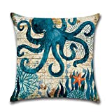 #10: Aremazing Ocean Theme Marine Life Cotton Linen Throw Pillow Case Cushion Cover Home Office Decorative 18 X 18 Inches (Octopus)