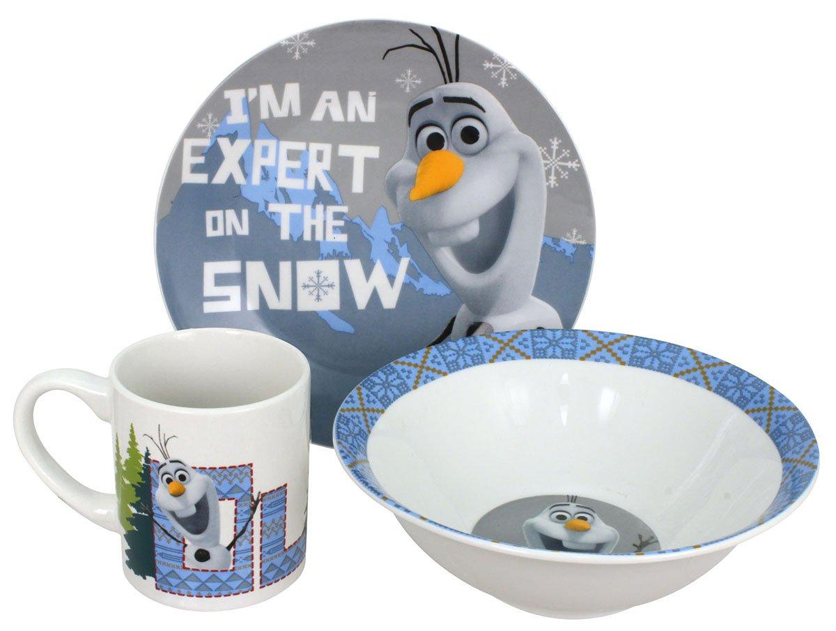 Disney Frozen Snow Expert Dinnerware Set, Olaf, 3-Piece