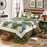 Best Comforbed Comforter Sets - 3-Piece Green Plaid Flowel Printed Comforter Bed Patchwork Review