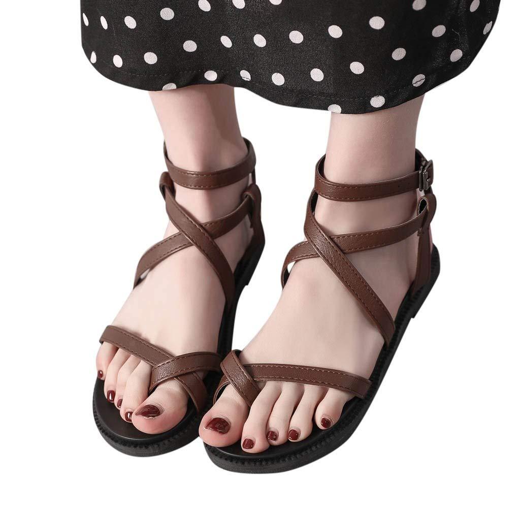 AIMTOPPY Sandals,Womens Open Toe Criss Cross Strap Low Heel Beach Pumps Slippers Roman Shoes