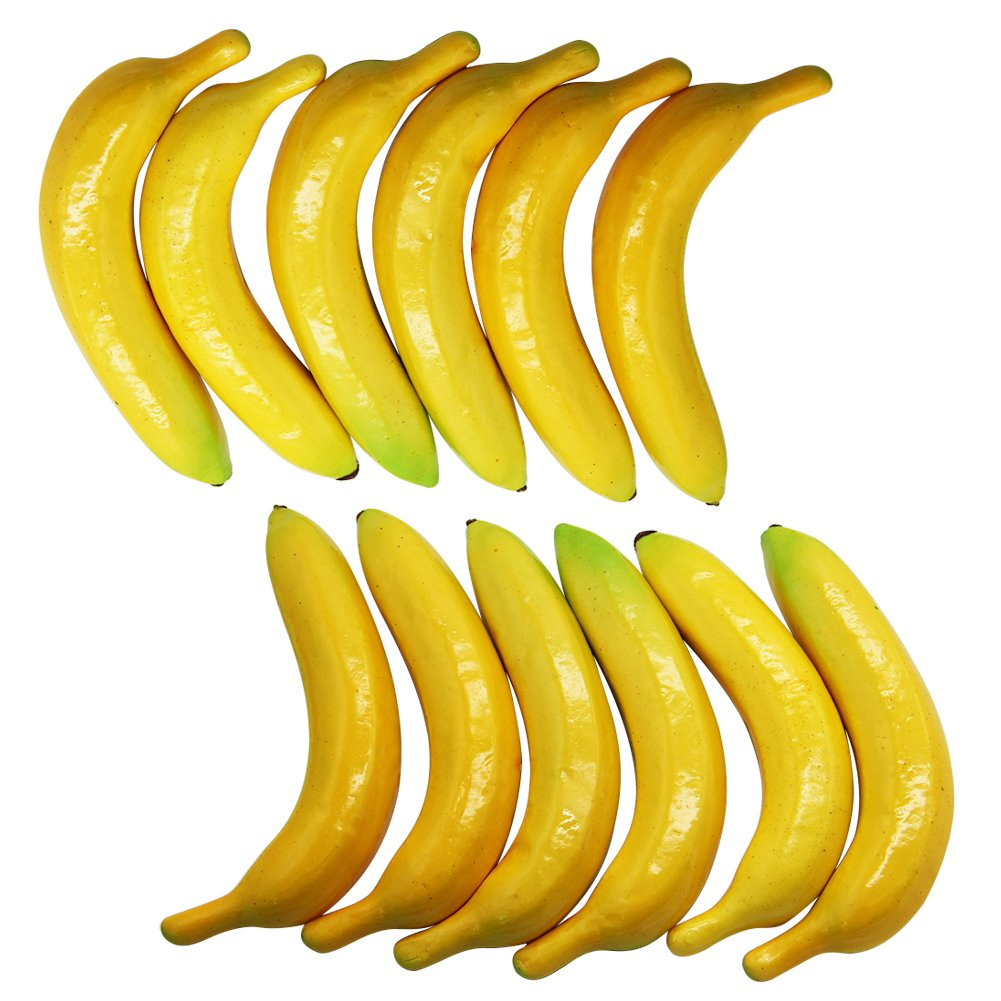 Yofit Artificial Lifelike Simulation Yellow Banana 12 Pcs, Fake Fruit for Home House Kitchen Party Decoration (Yellow)