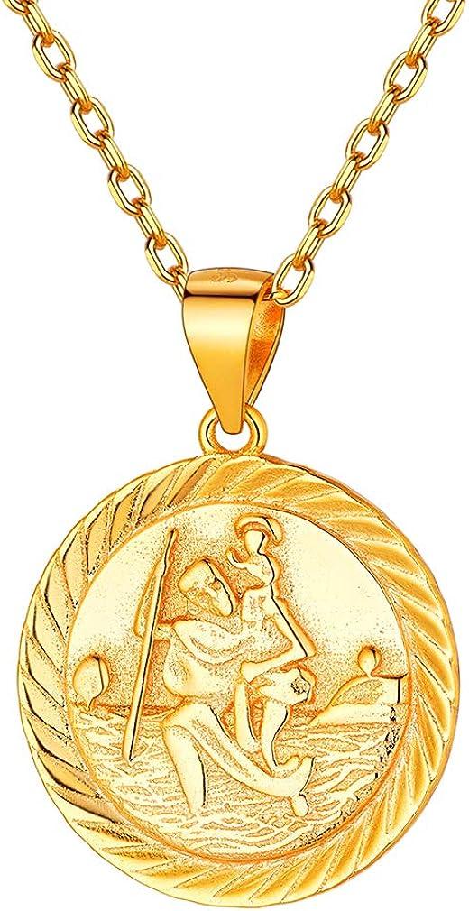 FaithHeart Medalla Moneda Santos Patrones Plata de Ley 926 / Acero Inoxidable Collar Colgante Redondo Joyería Religiosa para Hombre y Mujer Regalo Milagroso