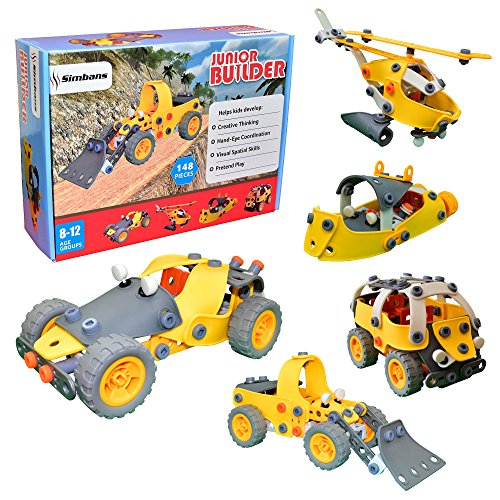Simbans JB - 148 pcs 5-in-1 Model Building Set, Educational Construction Engineering Toy for Kids, STEM Build and Play Blocks, DIY Stacking Toys for 8, 9 and 10 years old Children [Boys and Girls]