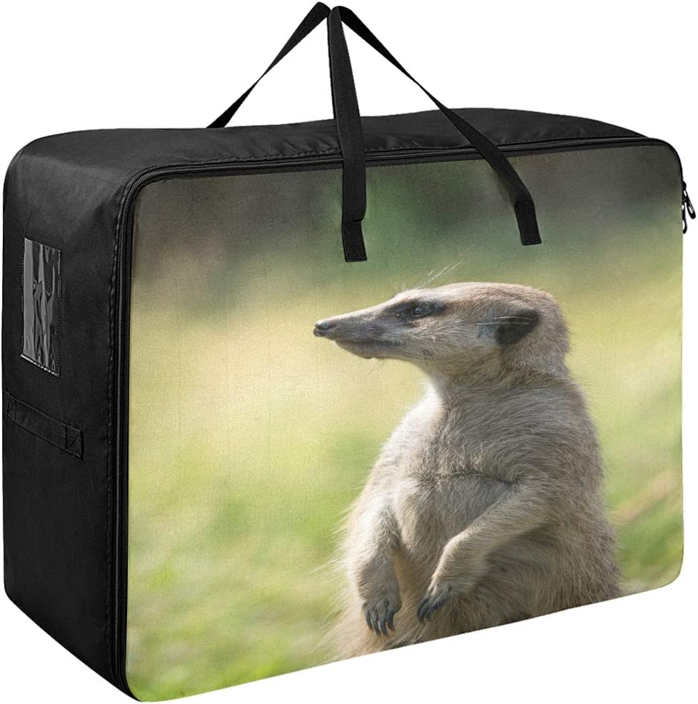 Godfery Gabriel Large Storage Bag Space Saving Cute Animal Funny Meerkat Laundry Bag Comforter Quilt Bedspread Pillow Luggage Moving Tote Garment Closet Storage Organizer Space Saver