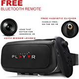 IRUSU PLAYVR PLUS - UPGRADED 42MM Fully Adjustable virtual reality lenses with FREE Bluetooth remote and Magnetic Clicker - VR glasses with HD Resin lenses .Works with leading mobile brands like Apple iphone 6 and plus, Samsung, Xiaomi,Lenovo,Oneplus,Moto, LG, nexus,Google Pixel,LeEco le2 and other mobiles with gyroscope.Experience 360 videos, 3D and VR games like never before.