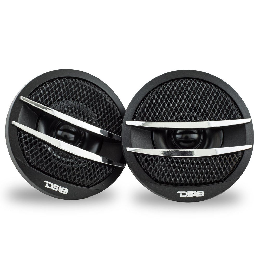 DS18 TX1R Tweeter X1 200 Watts Max PEI Dome Ferrite Tweeters Black//Red Set of 2