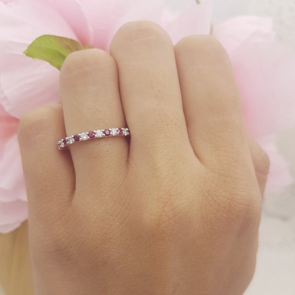 14K White Gold Round Ruby & White Diamond Ladies Eternity Stackable Ring Wedding Band by DazzlingRock Collection (Image #2)