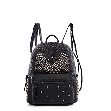 2ac1e47e74c9 Amazon.com  Ladies Women PU Leather Backpack Rivet Studded Cute Satchel  School Bags (Black S)  YUMI INC