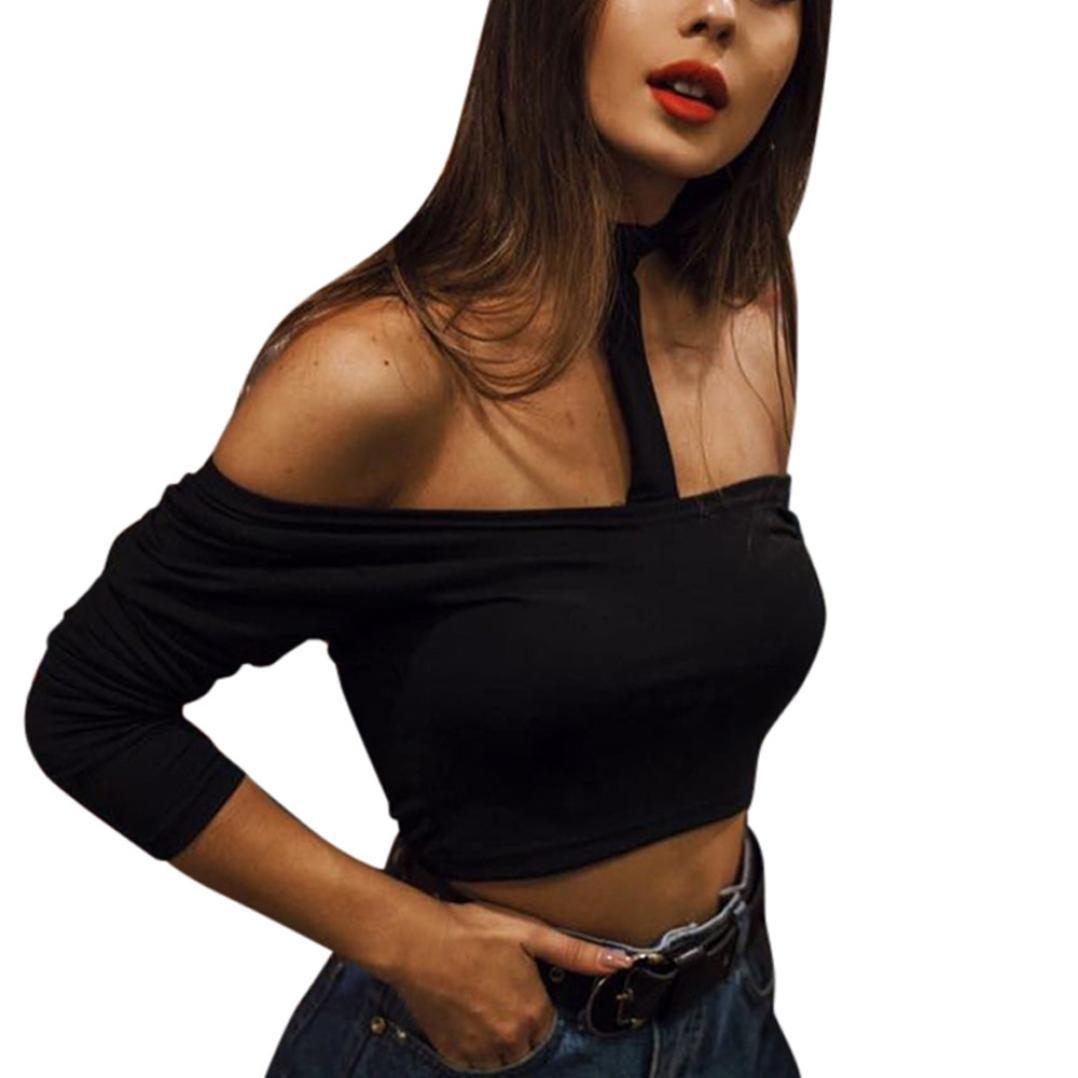 1c873e089da KaloryWee Women Summer Flattering Tank Bustier Bra Vest Crop Top Bralette  Blouse Cami Fashion Womens Short Casual Tops Off Shoulder Long Sleeve  Blouse Sexy ...