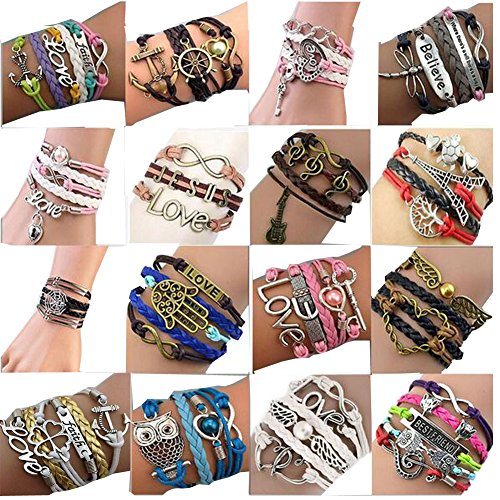 ThyWay Western Style Hot Handmade Vintage Leather Rope Wrap Bangle Bracelets – Infinity Love Best Friend (16 pieces)