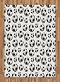Boy's Room Area Rug by Lunarable, Pattern with Vivid Graphic Soccer Balls Sports Icon Athletics Hobbies Game, Flat Woven Accent Rug for Living Room Bedroom Dining Room, 5.2 x 7.5 FT, Black White