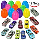 """Toys : 12 Die-Cast Car Filled Big Easter Eggs, 3.2"""" Bright Colorful Prefilled Plastic Surprise Eggs with Different Die-cast Cars for Easter Basket Stuffers, Egg Hunting, etc. by Joyin Toy"""