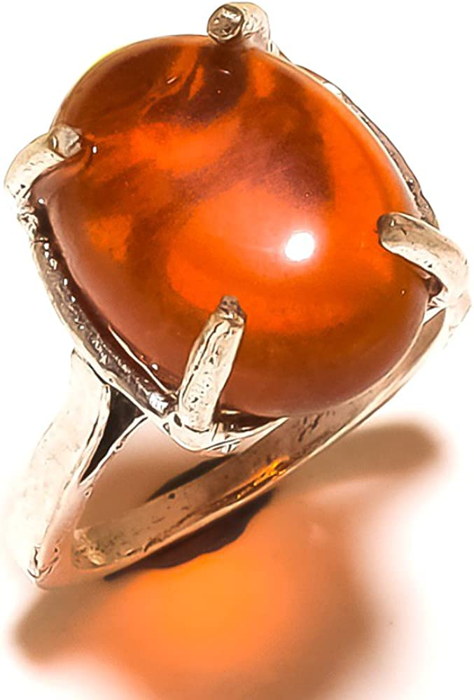 Red Garnet Quartz Sterling Silver Overlay 5 Grams Ring Size 6.75 US Gift Jewelry Handmade Jewelry