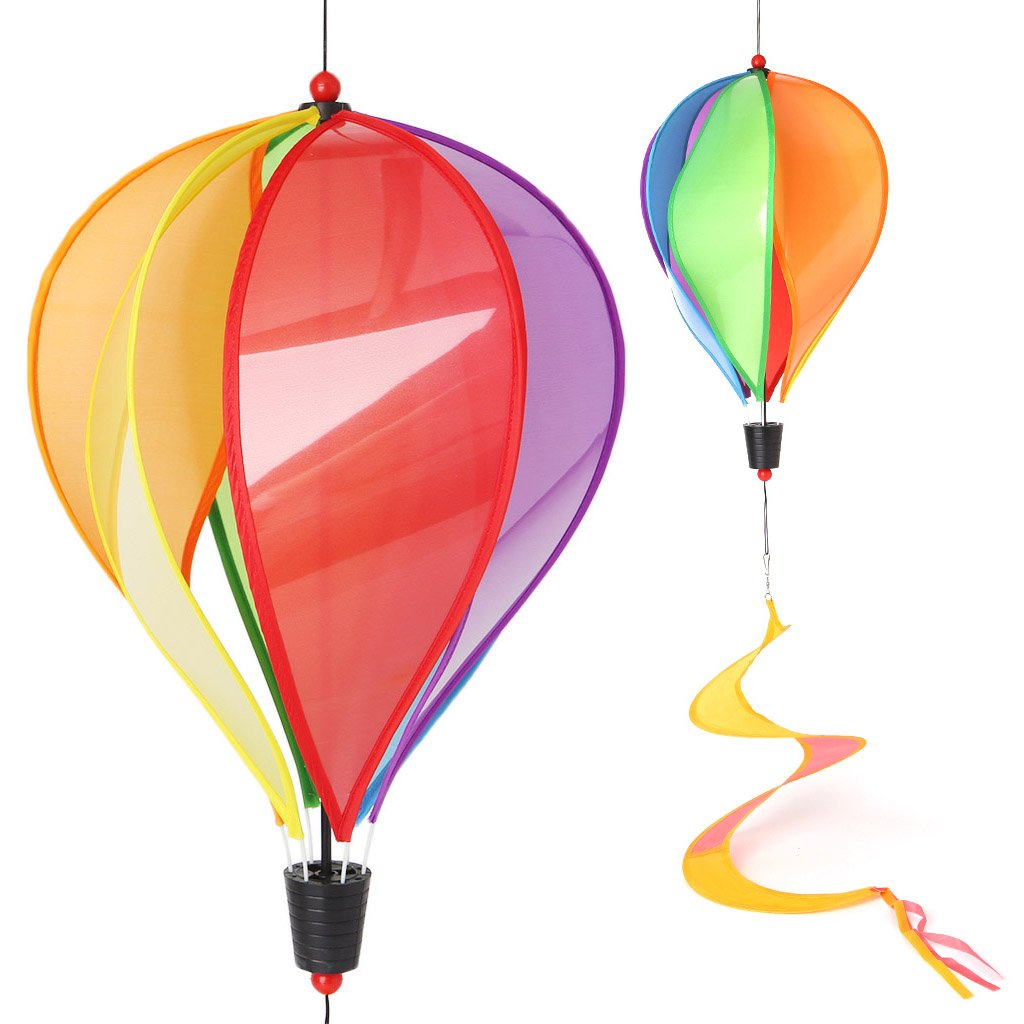 Autone Colorful Balloon Windmill Kid Toys, Glow Spiral Garden Ornaments Colorful Outdoors Wind Spinner