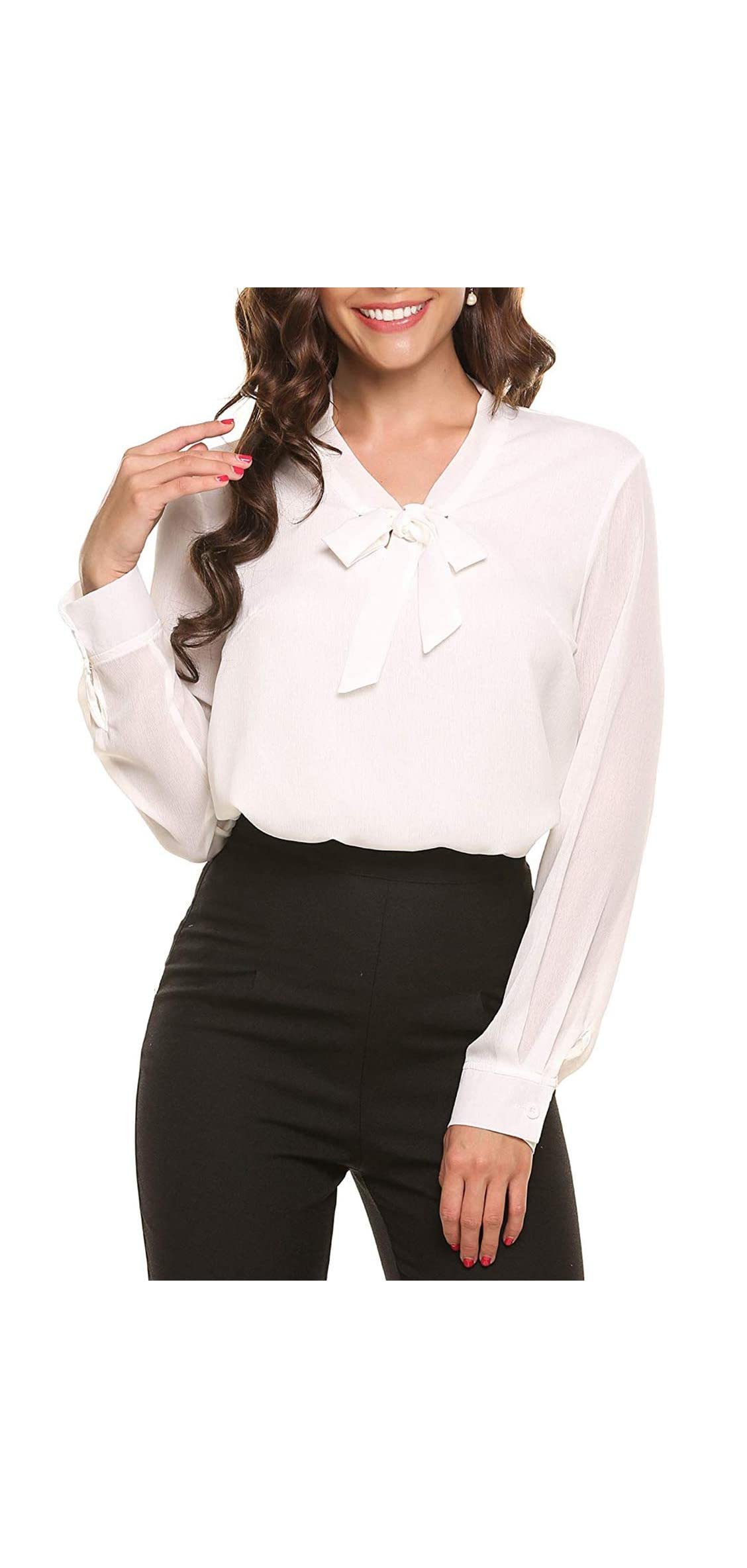 Long Sleeve Chiffon Blouses For Women Bow Tie Neck