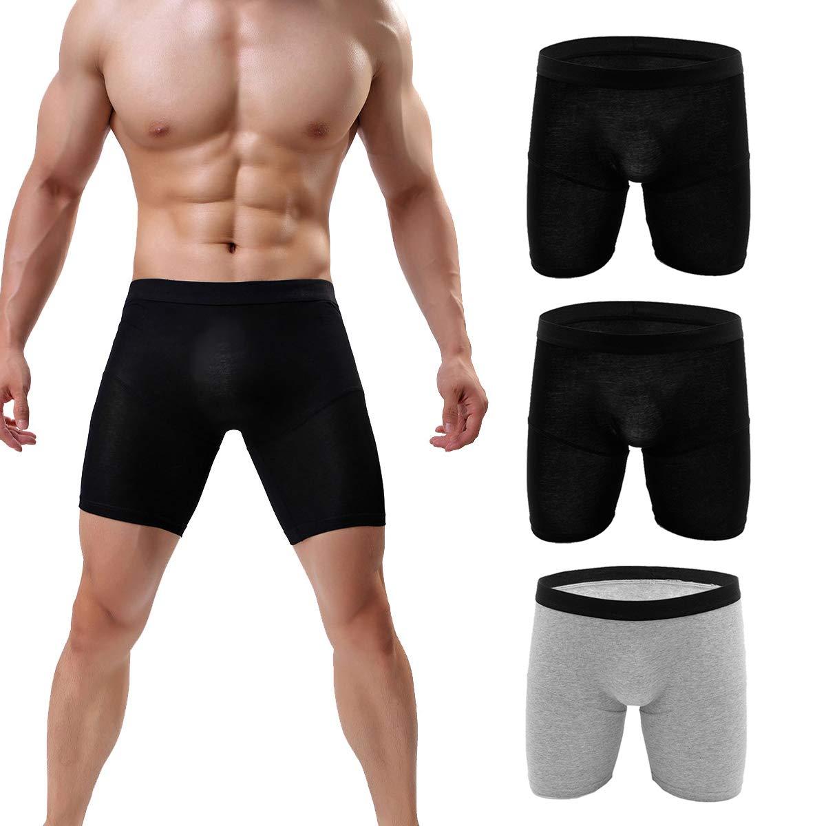 cd4b1f05b7a7 NANBADUN 3-Pack Men's Boxer Briefs Cotton Underwear Boxer Briefs Long-Sleeve  Briefs Smooth Breathable Antibacterial Deodorant (XXL Waist 33 inch, ...