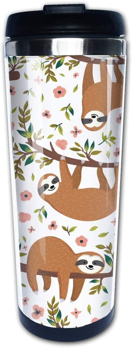 Waldeal Sloth Travel Coffee Mug with Flip Lid, Stainless Steel Vacuum Insulated Tumbler Cup 14 OZ, Birthday Mug for Men Women Friends