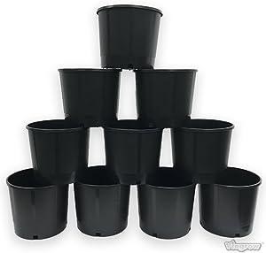 Viagrow VHG300-10 Heavy Duty 3 Gallon Round Plastic Nursery pots, 10 Pack, Black