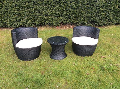 Rattan Furniture Bistro Set Garden Table Chair Patio Outdoor Conservatory Black