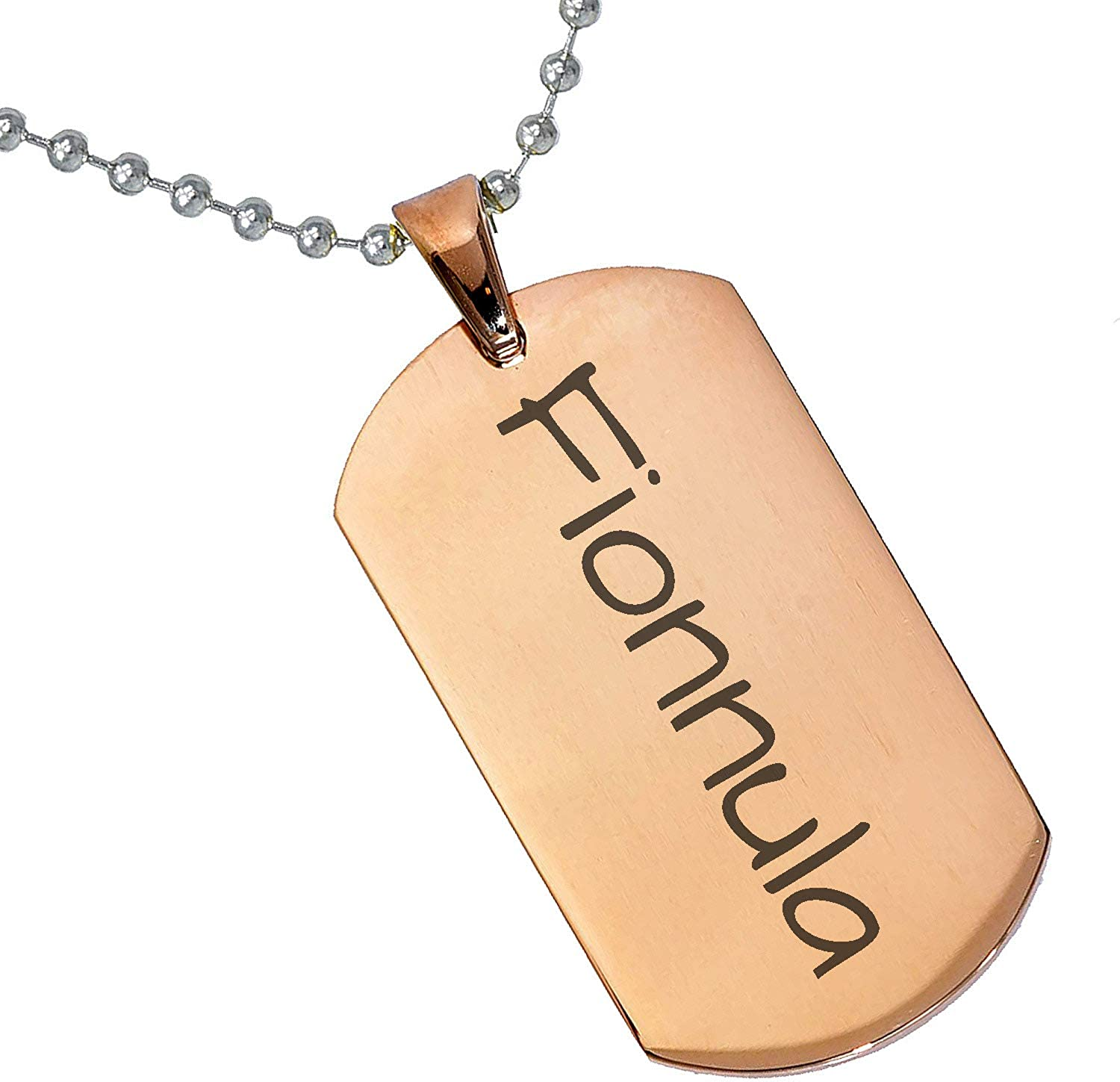 Stainless Steel Silver Gold Black Rose Gold Color Baby Name Fionnula Engraved Personalized Gifts For Son Daughter Boyfriend Girlfriend Initial Customizable Pendant Necklace Dog Tags 24 Ball Chain