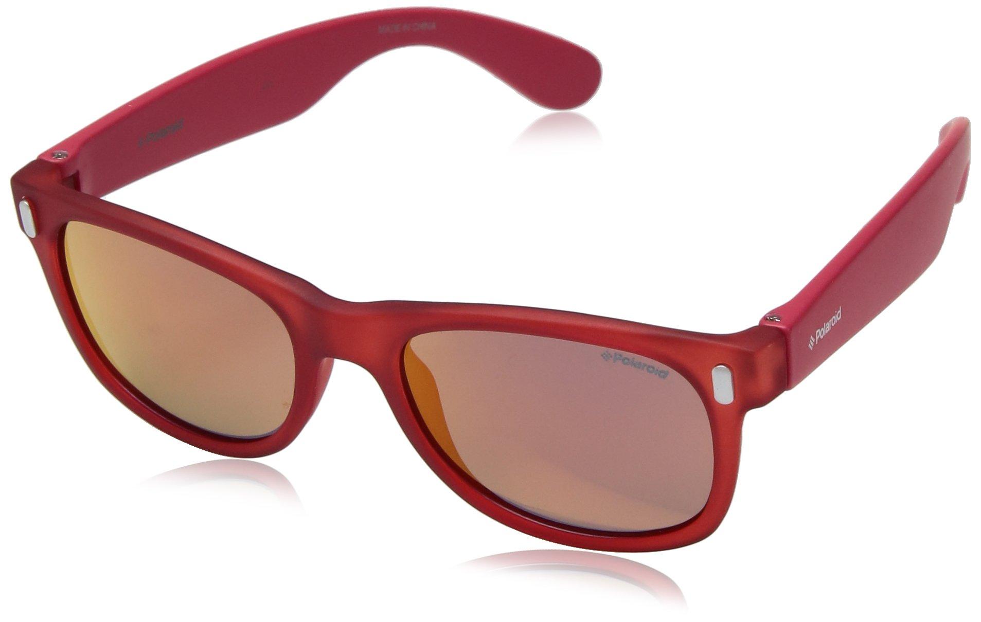 Polaroid Sunglasses Boys' P0115s Polarized Rectangular Sunglasses, CRYST RED, 46 mm