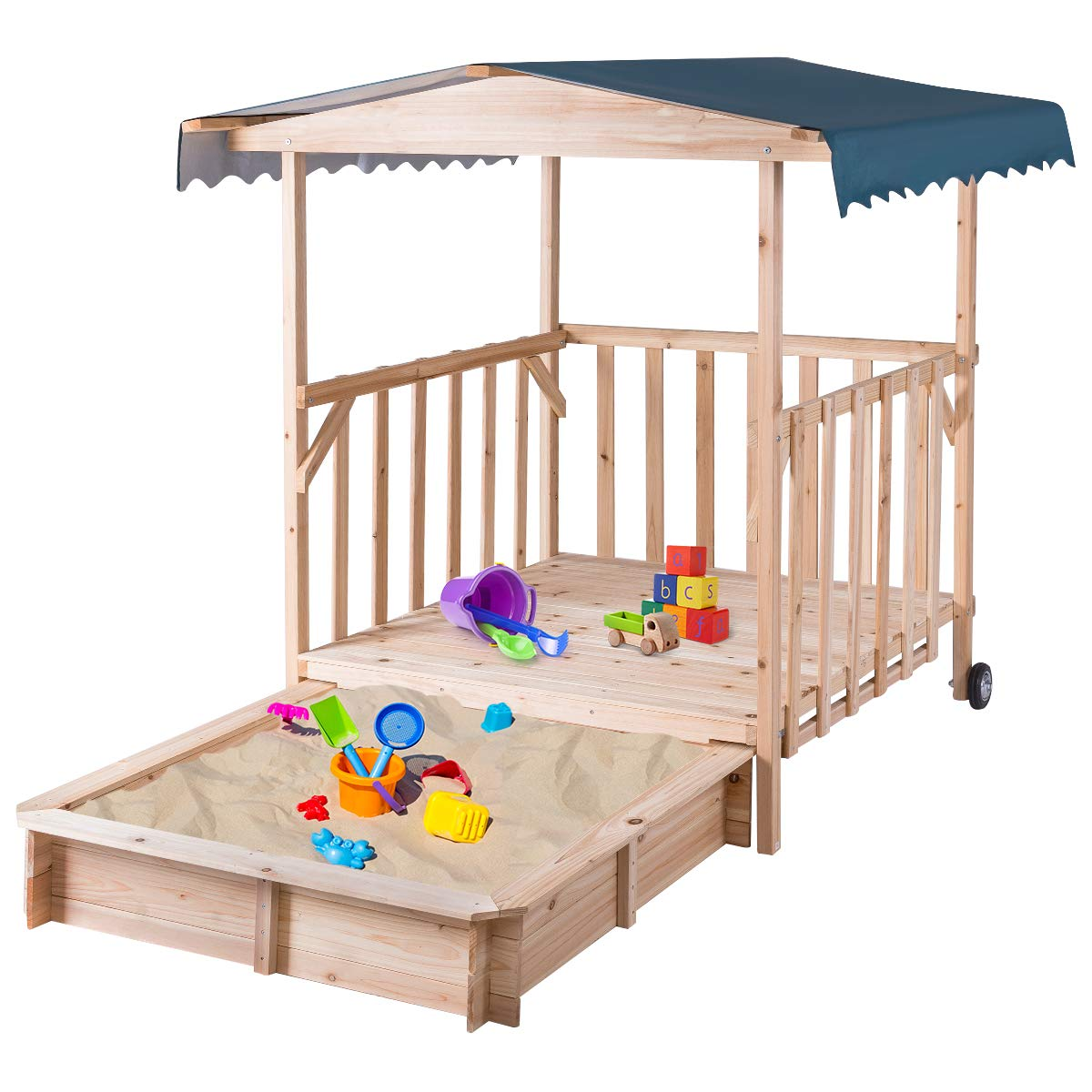 Costzon Kids Retractable Playhouse w/ Sandbox Canopy, Non-Woven Fabric Cloth, Wood Frame Play Area, Two Wheels, Children Outdoor Beach Cabana Sandbox for Outdoor, Lawn, Courtyard (52-Inch, Aquamarine)