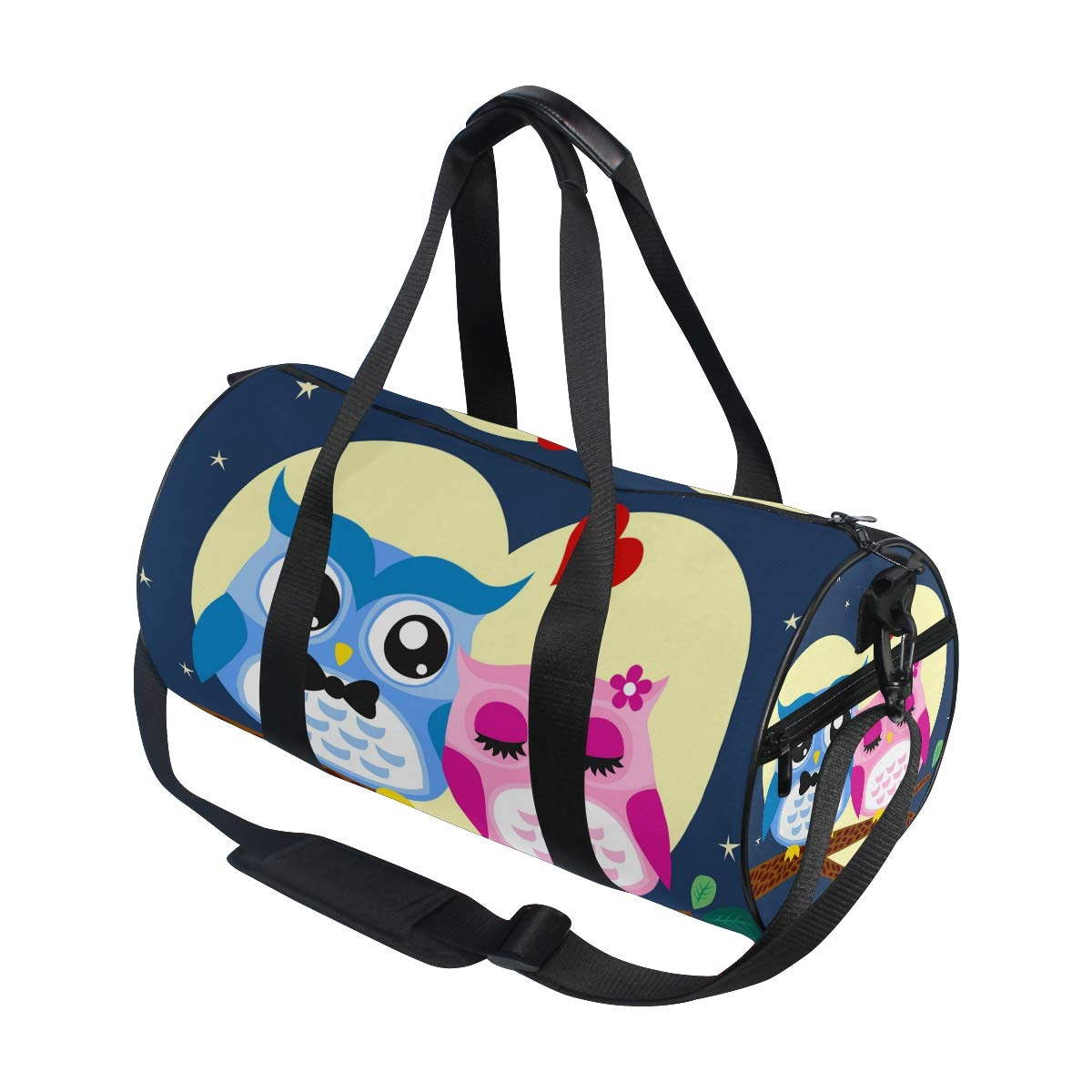 WIHVE Gym Duffel Bag Cartoon Owls Couple In Love At Tree Sports Lightweight Canvas Travel Luggage Bag