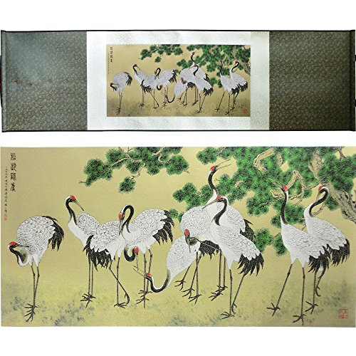 Home Decor Silk Scroll Painting Promotion Pine Crane Figure Famous Calligraphy Art Picture Gift Wedding Gifts Office Wall Hanger