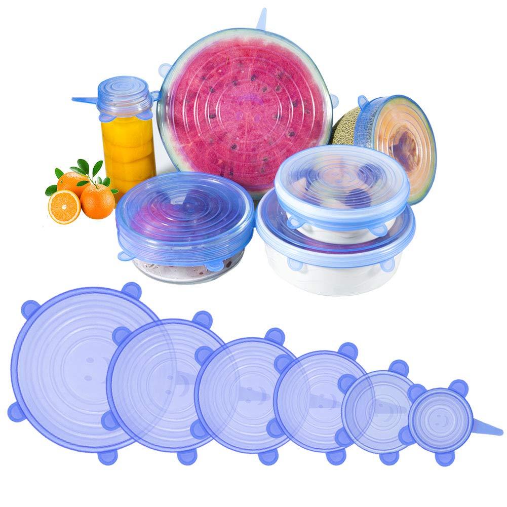 AJOXEL Tapas De Silicona Elástica, 6 Paquetes de Varios Tamaños Extensible Reutilizable Proteger Los Alimentos para Recipientes Tapa,Tazones y Tapas ...