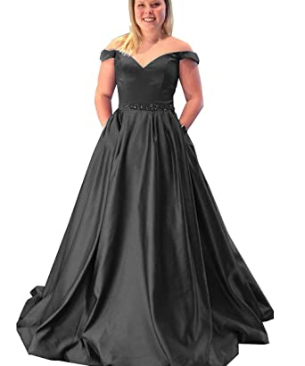 Geshun Womens Off The Shoulder Plus Size Prom Dress Long With