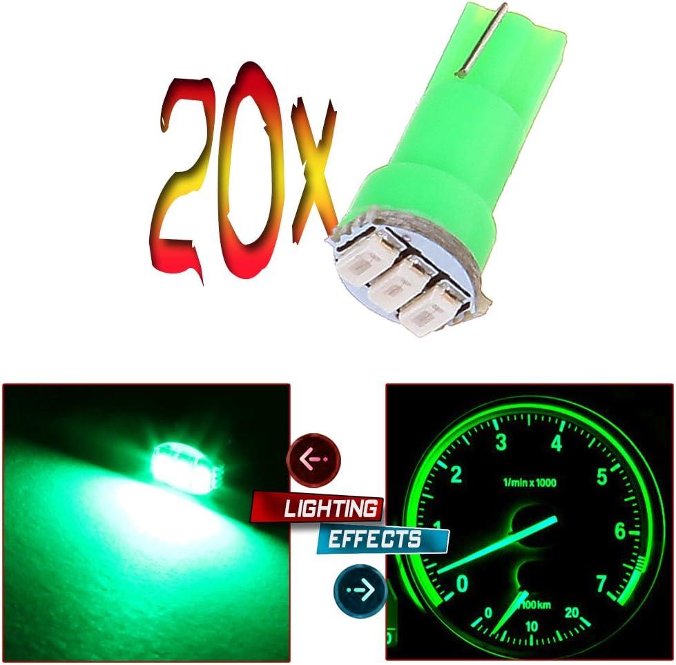 20x T5 Green Led 5050 SMD Wedge Instrument Panel Cluster Gauge Dash Light Bulb