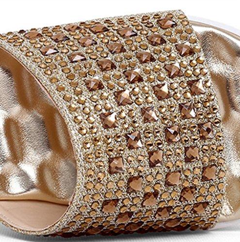 Crc Womens Romersk Stil Avslappnad Bekväm Rhinestone Syntetisk Slip-on Kilklack Sandaler Guld
