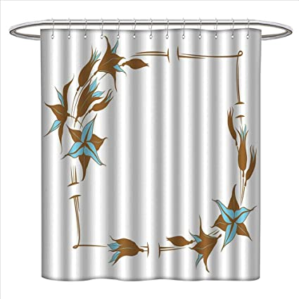 Bybyhome Brown And Blue Shower Curtains Mildew Resistant Floral Pattern With Lines Curves Botany Inspired Abstract