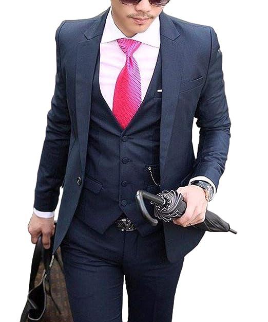 RYAYA Hombre Traje Slim Fit un botón 3 Piezas Acoge Traje de Novio Blazer  Hombres Business Boda Chaqueta Chaleco Pantalones  Amazon.es  Ropa y  accesorios 468420eb613