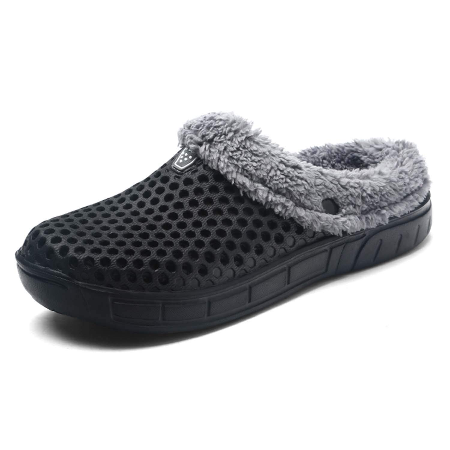 HMAIBO Unisex Fur Lined Clogs House Slippers Winter Breathable Indoor Outdoor Walking Garden Shoes Warm Non-Slip Mule Footwear Black 43