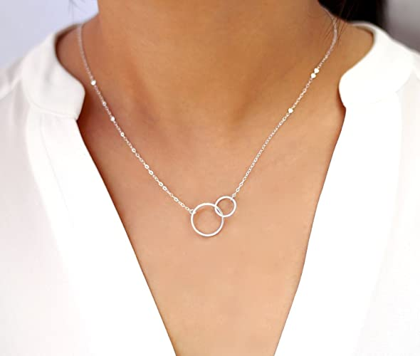 Amazon interlocking circle necklace double circle pendant interlocking circle necklace double circle pendant necklace 2 entwined ring necklace minimalist gift mozeypictures Choice Image