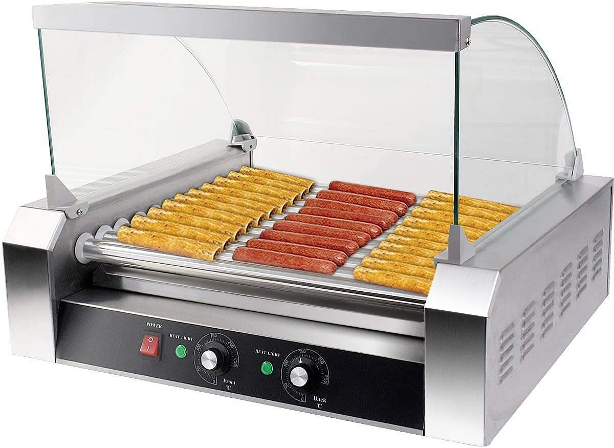 Happygrill Electric Sausage Grill Stainless Steel Hot Dog Roller Grill Cooker, 1650W Sausage Grilling Machine with 11 Rollers for 30 Hotdogs