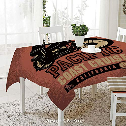 BeeMeng Large dustproof Waterproof Tablecloth,Family Table Decoration,Adventure,Pacific Coast Cruise California Motorcycle Driving Journey Traveling Hand Drawn Decorative,Ruby Black,70 x 104 inches ()