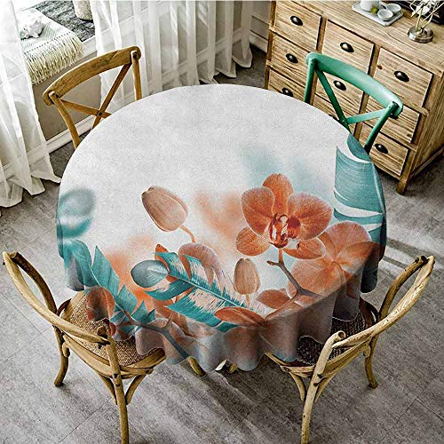 Lauren Russell Jacquard Tablecloth Tropical Tropical Orchids Blossom Leaves on Blurred Background Floral Themed Modern Art Orange Teal Modern Round Tablecloth Diameter 60