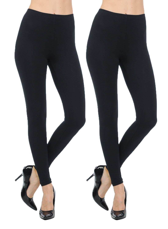 JNTOP Two Pack Cotton Leggings 2 Pack Black Medium