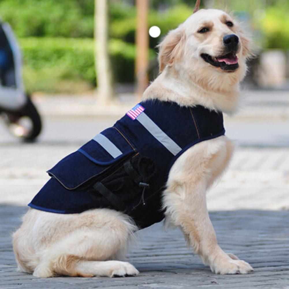 Lifeunion Pet Dog Hound Saddle Vest Clothes Travel Hiking Backpacks Police Dog US/UK Flag Camouflage Vest for Medium Large Dogs (L, Camo US Flag)