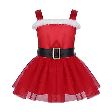 76850e974a84b ranrann Bébé Fille Robe de Princesse Noël Costume Mère Noël Deguisement Robe  de Soirée Cérémonie Robe