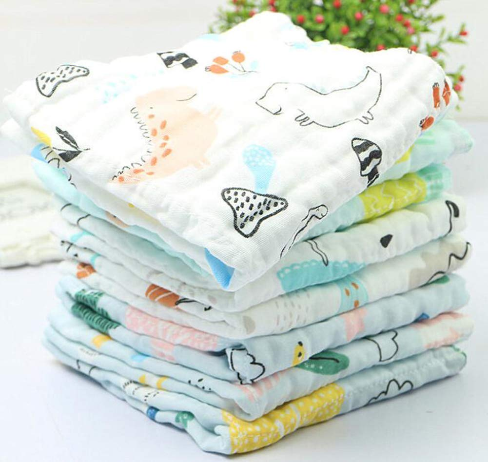 Baby Muslin Washcloths Cotton 6 Layers Extra Absorbent Newborn Baby Face Towel Baby Burb Cloth Pack of 6 D, 12*12