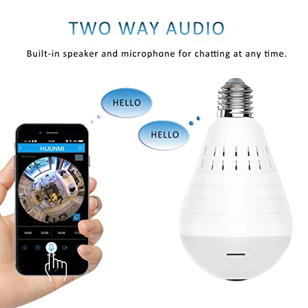 WiFi Bulb Security Camera -1080P Wireless Security Camera Bulb- 2MP Fisheye LED Light 360 Panoramic for Remote Light Cameras, Motion Detection for iPhone Android Windows