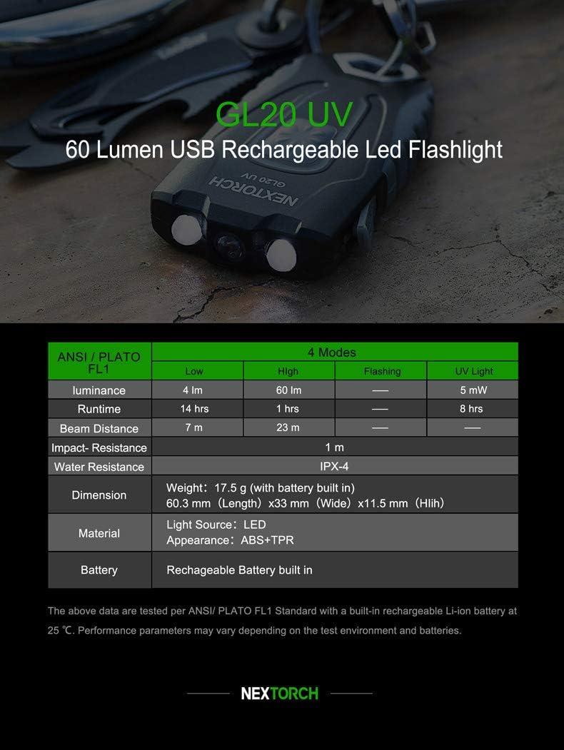 LED Taucherlampe akkubetrieben 60lm 17.5g Nextorch GL20 UV UV-LED