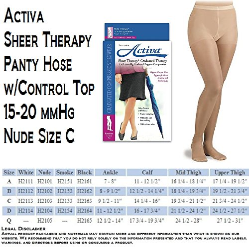 Activa Sheer Therapy 15-20 mmHg Panty Hose with Control Top, Nude, Size C