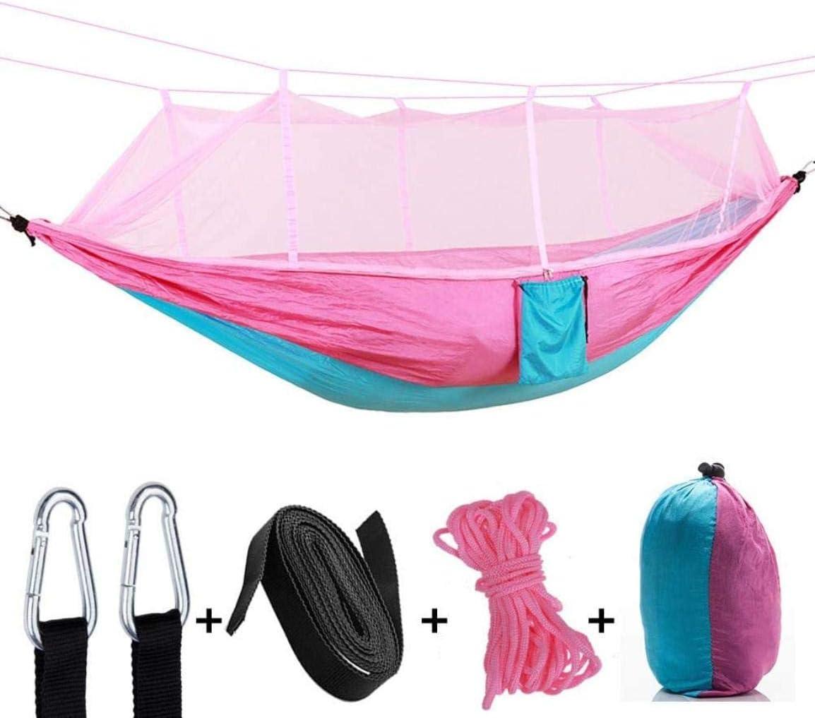 Zixin Nub Doble Camping Hamaca, Hamaca con la Red de Mosquito, a Prueba de Agua, portátil y Ligero, for IR de excursión, Acampar, el Recorrido al Aire Libre, Amarillo, Amarillo (Color : Pink)