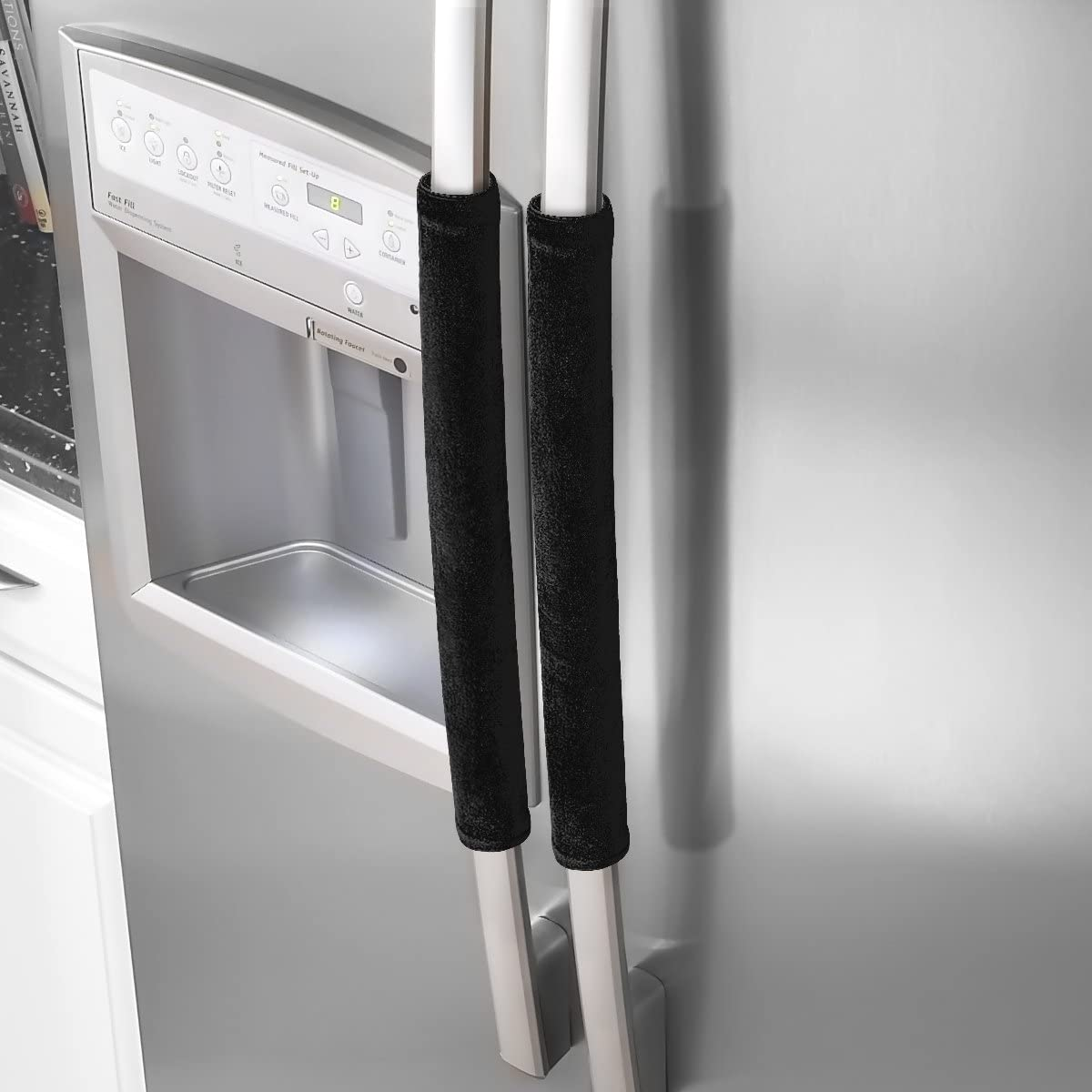 "OUGAR8 Refrigerator Door Handle Covers,Keep Your Kitchen Appliance Clean from Smudges,Fingertips,Drips&Food Stains,Perfect for Dishwashers(12"" L3.75 W, Black)"