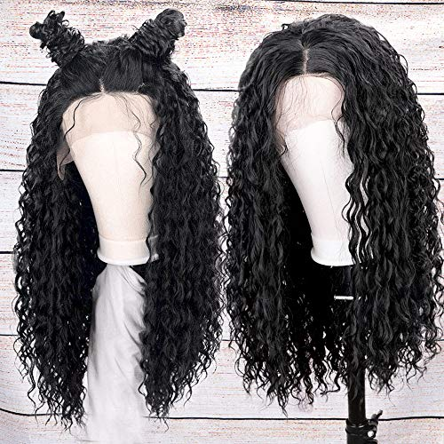 AISI HAIR Black Long Curly Lace Front Wigs with Baby Hair Long Kinkys Curly Wig Synthetic Lace Front Wigs Curly Long Wigs for -