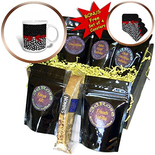 3dRose Uta Naumann Faux Glitter Pattern - Dots and Valentines - Black and White Dot Confetti Red Ribbon Diamond - Coffee Gift Baskets - Coffee Gift Basket (cgb_275458_1) (Valentine Dots)